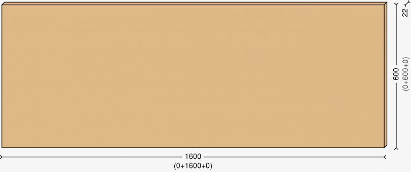 Столешница 110х60см, массив берёзы 22мм + бесцветный лак