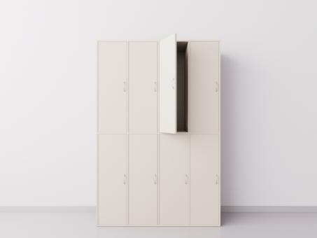 Шкаф для раздевалки из ДСП 4х2 вертикальные секции, бежевый