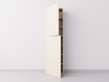 Шкаф из ДСП 1x7 прямоугольников с дверцами, клён