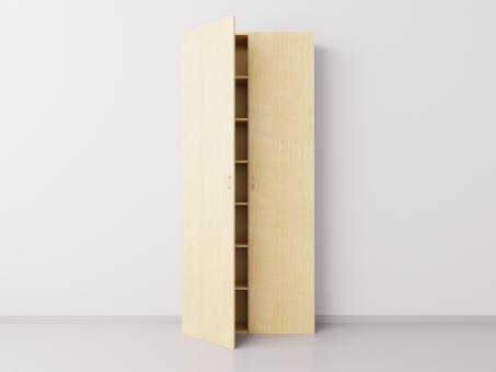 Высокий шкаф с двумя большими дверцами из натурального массива берёзы