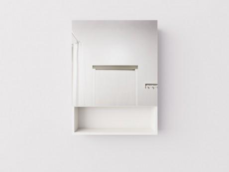 Навесной высокий шкаф с зеркалом и открытой полкой для ванной комнаты, ДСП