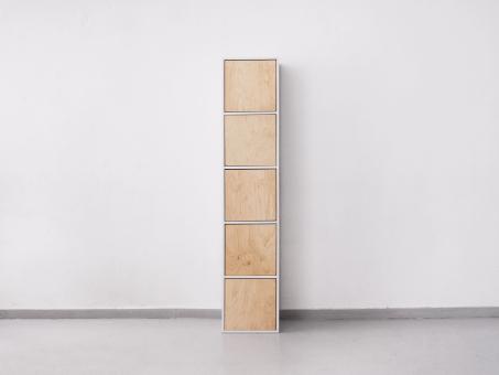 Шкаф из пяти квадратов с дверками из фанеры с нажимными механизмами