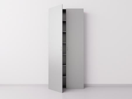 Высокий шкаф с двумя большими дверцами из ДСП, серебристый металлик