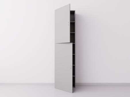 Шкаф из ДСП 1x7 прямоугольников с дверцами, серый